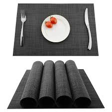 Kokako Placemats Washable Dining Table Place Mats Pvc Kitchen Table Matsset Of 4dark Gray