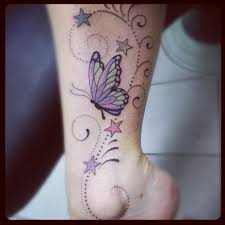 This Is My Ankle Tattoo Butterflies And Stars тату бабочки