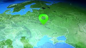 Animated Travel Map Ukraine Kiev On The Europe Map 3d Map Render Motion Through Clouds Land View From Top With Zoom Of Continent Animated Pin Marked Location Of Country On The Geographic Map Background For Travel