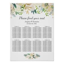 Zazzle Size Chart Green Gold Floral 8 Tables Wedding Seating Chart