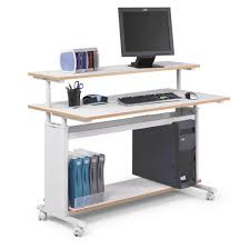 awesome white computer desk design on wheels with colorful file organizer
