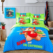 blue and green king duvet cover whole blue green alvin and the chipmunks bedding set cartoon bed