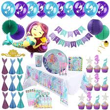 Mermaid Party Supplies - Complete Tableware and Decoration Deluxe Set Plates, Cups, Utensils, Napkins, Table Cloth, Balloons, Happy Birthday Banner, Amazon.com:
