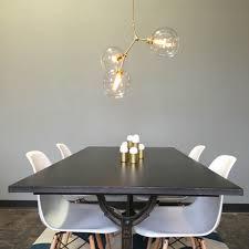 dining room chandelier brass. 3 Globe Brass Constell Chandelier Clear Globes Dining Room Scene