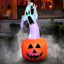 Pumpkin Yard Light Cover Halloween Inflatable Pumpkin Ghost Scary Airblown Outdoor