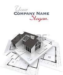 architecture blueprints 3d. 3d Rendering Of A Residential Architecture Model On Top Blueprints Photo