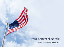American Flag Waving On Flagpole Presentation Template For