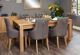 image baumhaus mobel. Baumhaus Mobel Extending Oak Dining Set With 6 Stone Fabric Upholstered Chairs Image