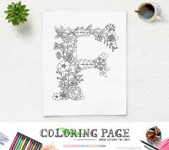 fl alphabet printable coloring page letter f instant digital art printable art zen coloring pages anti stress art therapy