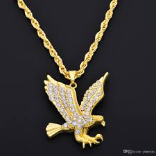 whole hip hop gold eagle pendant necklace gold full of rhinestone hiphop rock style long necklace for men woman ne779 mens pendants for necklaces silver