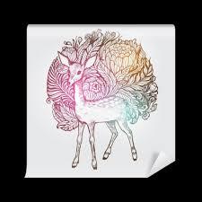 Fototapeta Abstact Květinový Vysoce Detailní Ručně Malovaná Květ Orchideje A Jelen Designovým Prvkem Pro Pohlednice Plakáty A Tisk či Krásným Motivem