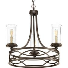 progress lighting soiree 22 in 3 light antique bronze seeded glass shaded chandelier