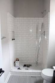 grey wall color with superb white subway tile for small contemporary bathroom ideas