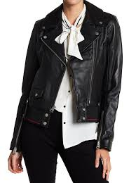 7 for all mankind womans asymmetrical moto faux leather jacket size large