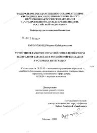 Диссертация на тему Устойчивое развитие отраслей социальной сферы  Диссертация и автореферат на тему Устойчивое развитие отраслей социальной сферы республики Казахстана и Российской Федерации