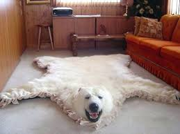 faux bear skin rug polar fake with head taxidermy for white