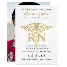Nursing Graduation Party Invitations Bsn Rn Nurse Graduation Party Announcement Gold