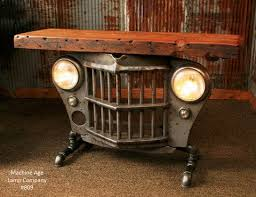 industrial antique furniture. Industrial Antique Jeep CJ Military Willys Grille Table, Console, Lamp Stand - #809 Furniture I