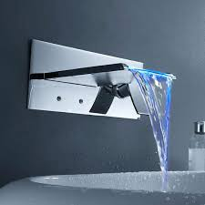 led bathroom sink faucet color changing led waterfall bathroom sink faucet wall mount at hiendurer color changing led square waterfall bathroom sink tap