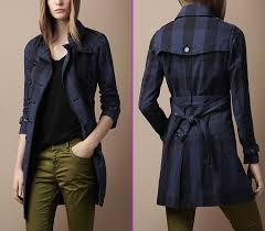 navy cotton and check coat
