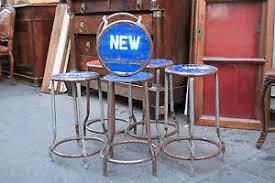 Sedie In Ferro Battuto Ebay : Gruppo di sei sgabelli in metallo ferro