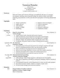 Tv Production Manager Resume Production Manager Resume Television Free Resume Templates 1