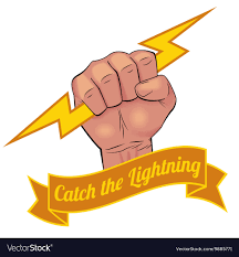 Fist catching lightning bolt