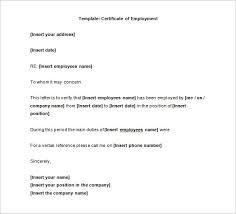 Employment Certification Letter Letter Template