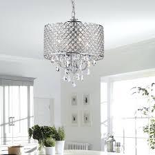 drum crystal chandelier 4 light round ceiling fixture chrome finish black