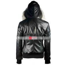 er womens fur black leather hooded jacket