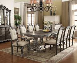 oak dining room sets. Kiera Antique Gray Oak Dining Table Set | Formal Room With Side And Arm Sets