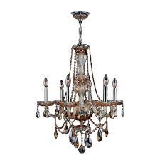 worldwide lighting provence 6 light chrome amber crystal chandelier