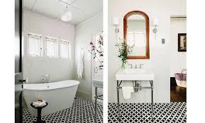black and white tile floor. Black And White Cement Tile Pattern Bathroom Floor