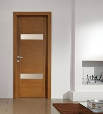Awesome Brown Natural Solid Polished Single Swing Modern Interior Doors In  White Living Room Decors Added Built In Shelves And Brown Rugs Ideas