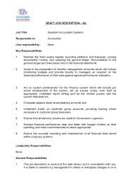 Assistant Accountant Systems Job Description Stafford And
