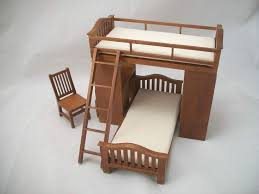 bunk bed w chair desk dollhouse miniature 1 12 scale small wood doll chair small doll rocking chair