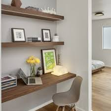 tiny home office ideas. Inspiration For A Small 1950s Built-in Desk Light Wood Floor Study Room Remodel In Tiny Home Office Ideas N