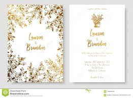Save The Date Cards Template Gold Invitation With Abstract Plants Gold Cards Templates