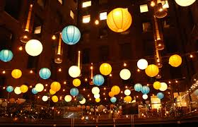 Light Up Paper Lanterns Festoon And Paper Lantern Canopy Lit Up For The Evening At