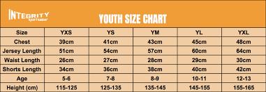 Size Chart Integrity Sportswear