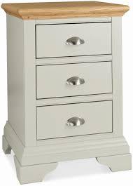 bentley designs hampstead soft grey and oak 3 drawer bedside cabinet cfs uk