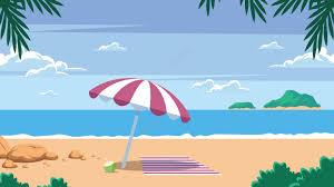 夏の海辺の休暇風景イラスト画像pngとベクトルダウンロードai