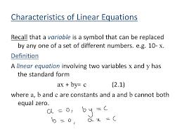 6 characteristics of linear equations