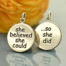 a1803 sv chrm silver message pendant she believed she could so she did