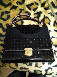 arcadia patent leather handbag purse