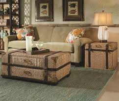 Living Room Wicker Furniture Coffee Table Brown Rattan Furniture Set With White Cushion For