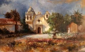 plein air painting at carmel mission