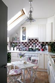 shabby chic kitchen lighting. ample natural light color scheme and shabby chic style fashion a lovely attic kitchen lighting c