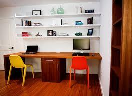 home office shelf. teak waterfall desk \u0026 floating shelves suite contemporary-home-office home office shelf e