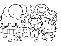 Kitty And Zoo Animals Coloring Page For Kids Animal Coloring Pages